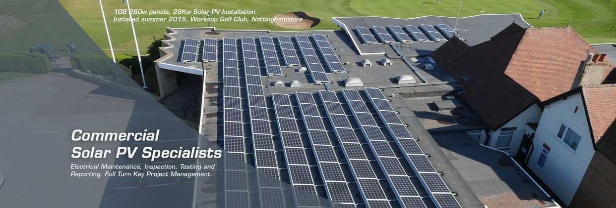 Commercial Solar PV installation at Worksop Golf Club 2015