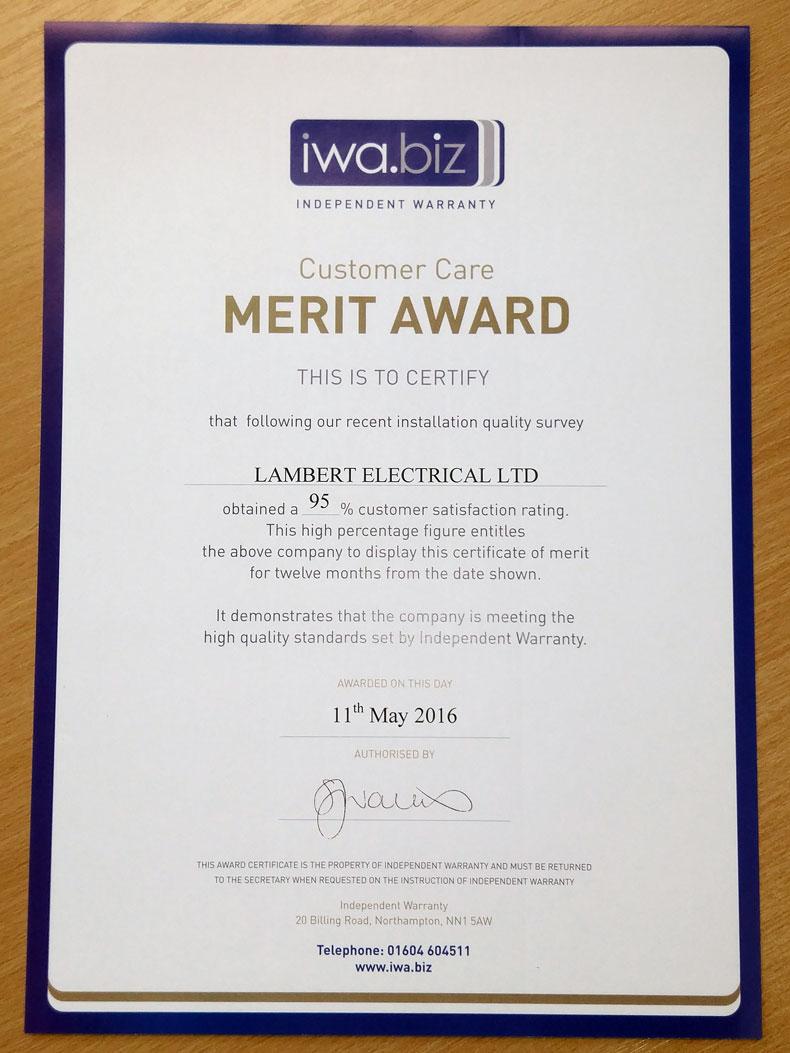 IWA Award Certificate